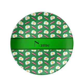 Personalized name green bacon eggs dinner plate