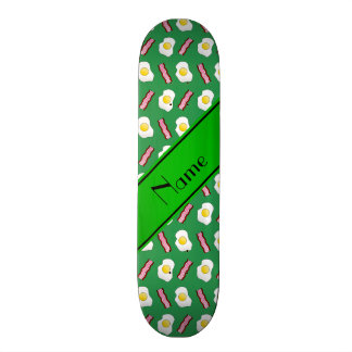 Personalized name green bacon eggs skateboard deck