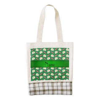 Personalized name green bacon eggs zazzle HEART tote bag