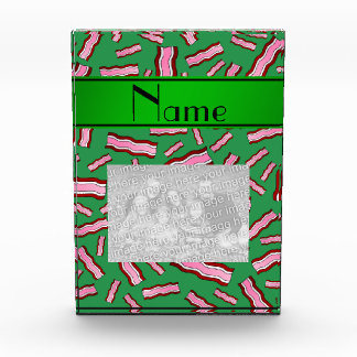 Personalized name green bacon pattern acrylic award