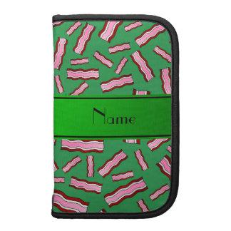 Personalized name green bacon pattern organizer