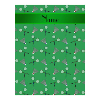Personalized name green badminton pattern letterhead