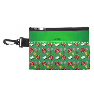 Personalized name green barn animals accessory bag