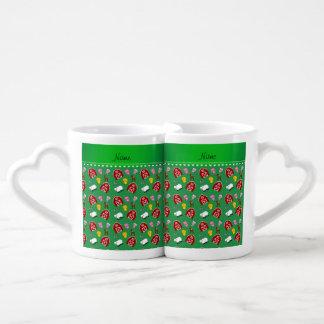 Personalized name green barn animals couple mugs
