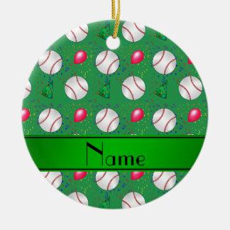 Personalized name green baseball birthday ceramic ornament