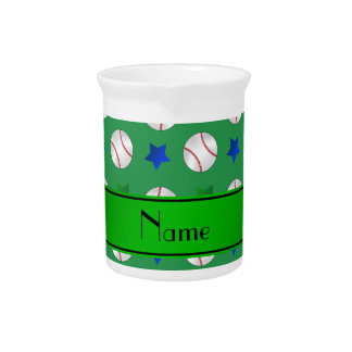 Personalized name green baseball blue green stars beverage pitcher