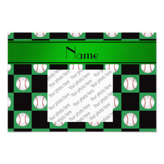 Personalized name green baseball checkers art photo