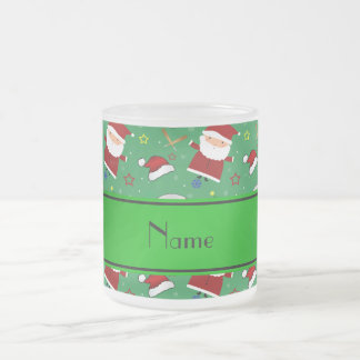 Personalized name green baseball christmas 10 oz frosted glass coffee mug