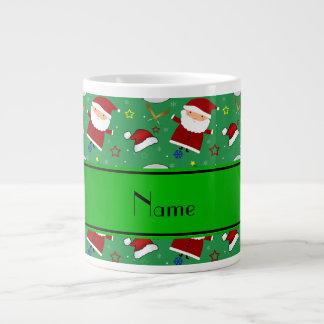 Personalized name green baseball christmas 20 oz large ceramic coffee mug