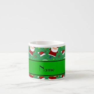 Personalized name green baseball christmas 6 oz ceramic espresso cup