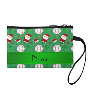 Personalized name green baseball christmas coin purses