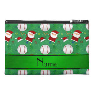 Personalized name green baseball christmas travel accessories bag