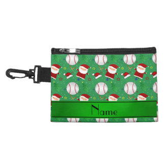 Personalized name green baseball christmas accessory bag