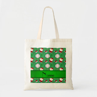 Personalized name green baseball christmas canvas bags
