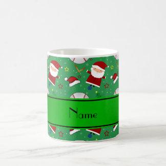 Personalized name green baseball christmas classic white coffee mug
