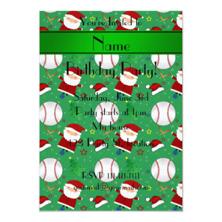 Personalized name green baseball christmas 5x7 paper invitation card