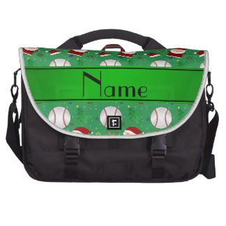 Personalized name green baseball christmas commuter bags