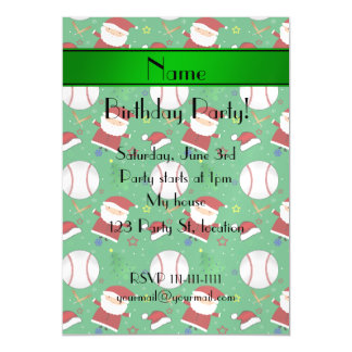 Personalized name green baseball christmas magnetic invitations