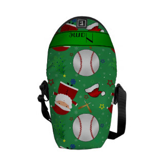 Personalized name green baseball christmas courier bag