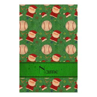 Personalized name green baseball christmas cork paper