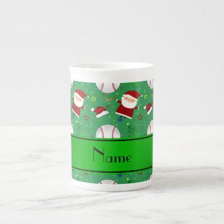 Personalized name green baseball christmas tea cup