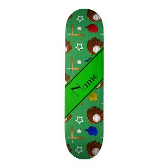 Personalized name green baseball glove hats balls custom skate board
