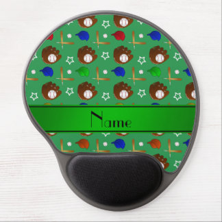 Personalized name green baseball glove hats balls gel mouse pad