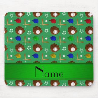 Personalized name green baseball glove hats balls mouse pad