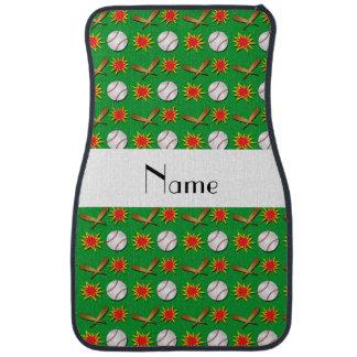 Personalized name green baseball pattern car mat