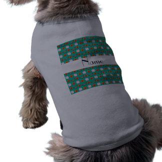 Personalized name green baseball pattern doggie t-shirt