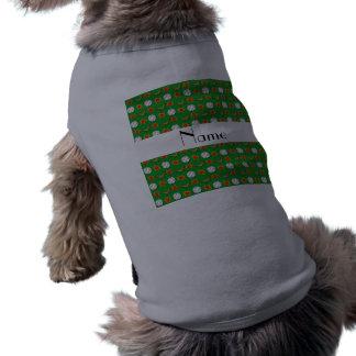 Personalized name green baseball pattern pet tee shirt