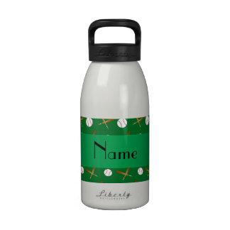 Personalized name green baseball drinking bottles