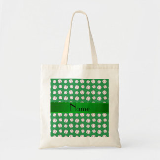 Personalized name green baseballs pattern canvas bag