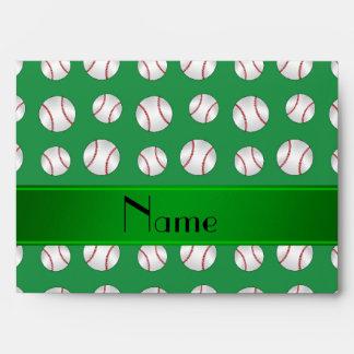 Personalized name green baseballs pattern envelopes
