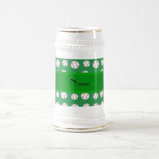 Personalized name green baseballs pattern coffee mugs