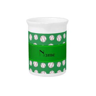 Personalized name green baseballs pattern pitcher