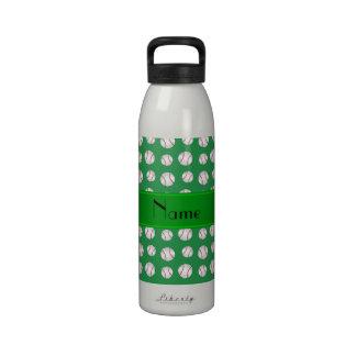 Personalized name green baseballs pattern reusable water bottle