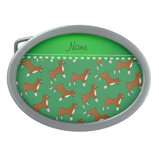 Personalized name green basenji dogs oval belt buckles