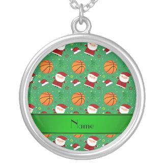 Personalized name green basketball christmas pendants