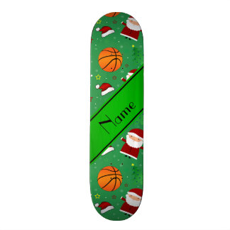 Personalized name green basketball christmas custom skate board