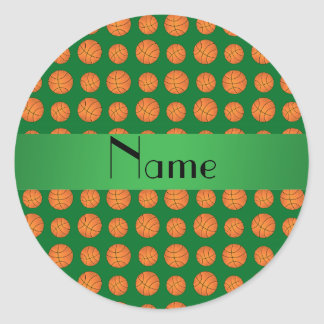 Personalized name green basketballs stickers