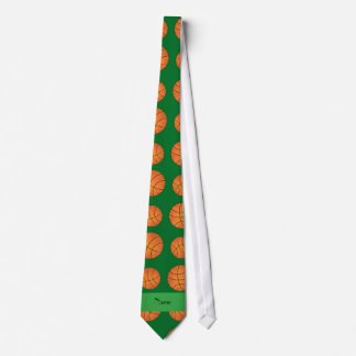 Personalized name green basketballs tie