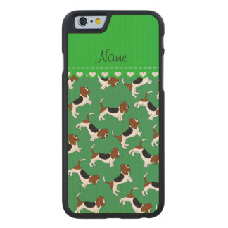 Personalized name green basset hound dogs carved® maple iPhone 6 slim case