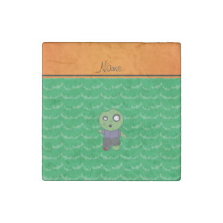 Personalized name green bats zombie stone magnet