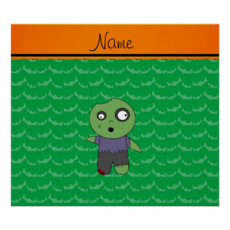 Personalized name green bats zombie posters
