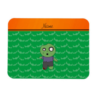 Personalized name green bats zombie rectangular photo magnet