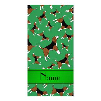 Personalized name green beagle dog pattern photo card