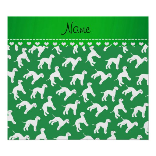 Personalized name green bedlington terrier dogs poster