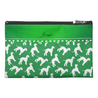 Personalized name green bedlington terrier dogs travel accessories bags