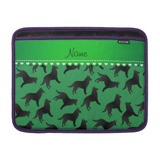 Personalized name green belgian sheepdog MacBook sleeves